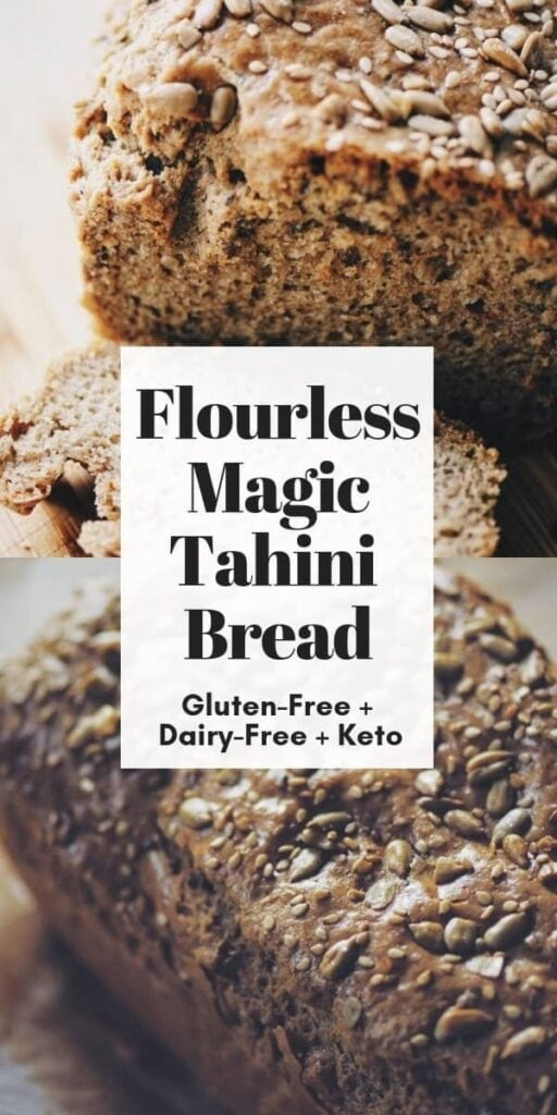 a pinterest pin image for flourless keto tahini bread