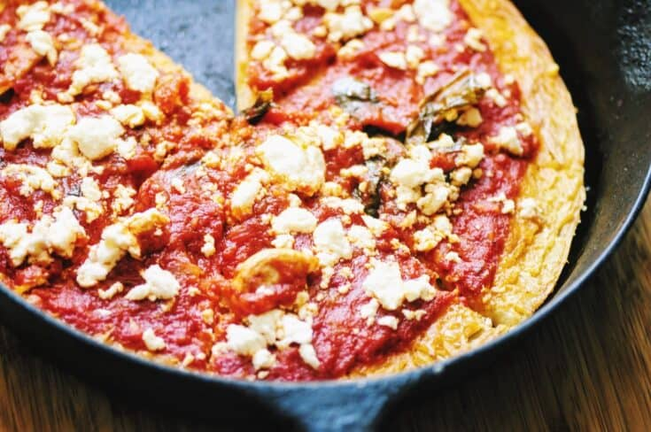 20 Minute Rosemary, Onion, & Feta Farinata Pizza (Gluten-Free, Vegan)