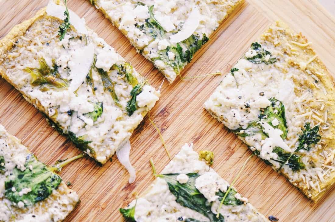 almond flour pizza crust with feta and spinach