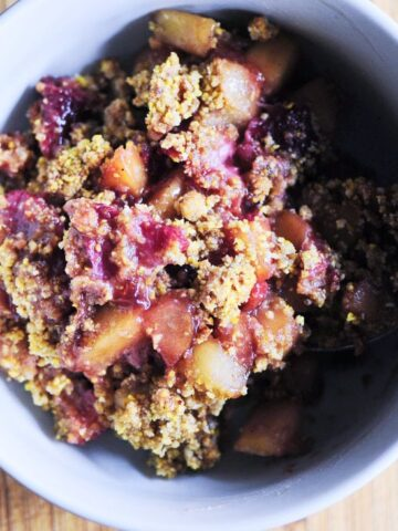 polenta crisp recipe in a white bowl