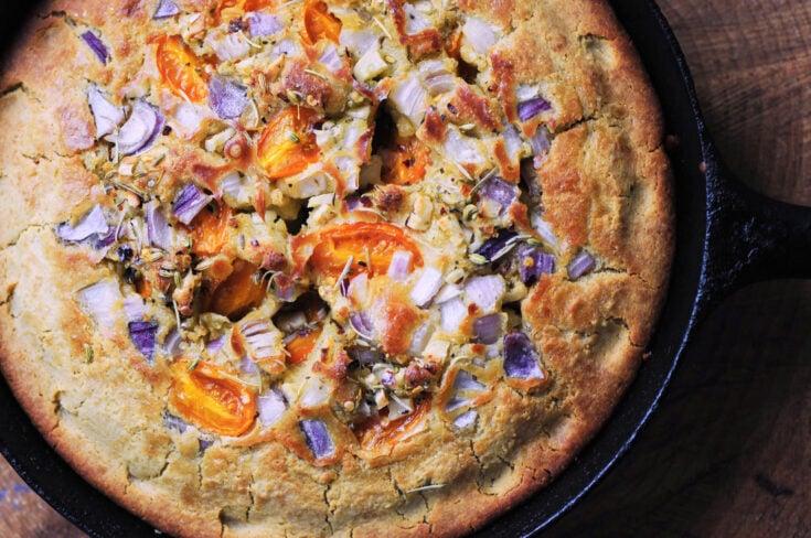 Fennel, Tomato, Rosemary and Onion Cast Iron Focaccia Bread (Gluten-Free)