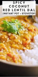 pinterest pin image for spicy coconut red lentil dal