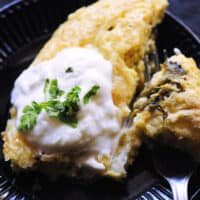 a close up shot of gluten free chile rellenos