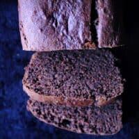 chocolate banana bread loaf cut open