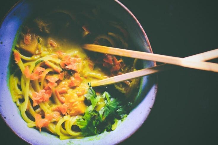Butternut Squash Coconut Curry Rice Noodle Soup