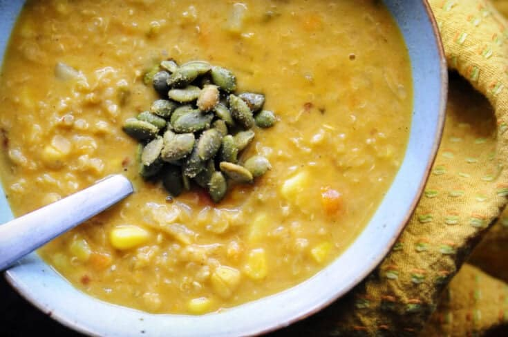Spicy Southwestern Vegan Corn Chowder with Quinoa, Potatoes + Red Lentils