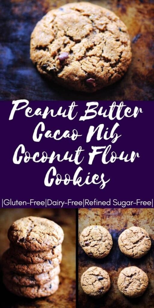 pinterest pin image for cacao nib peanut butter coconut flour cookies