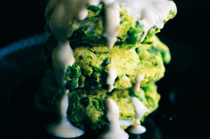 Baked Spring Pea & Dill Fritters with Lemon Tahini Sauce (Vegan, Gluten-Free)