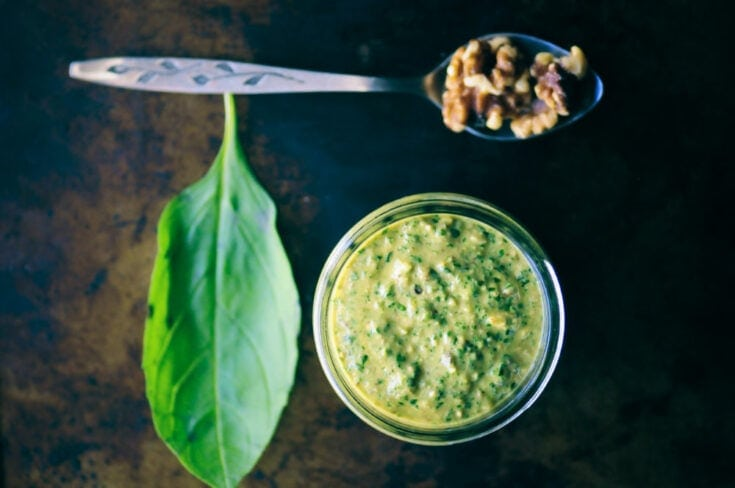 Cheesy Vegan Walnut Pesto Recipe