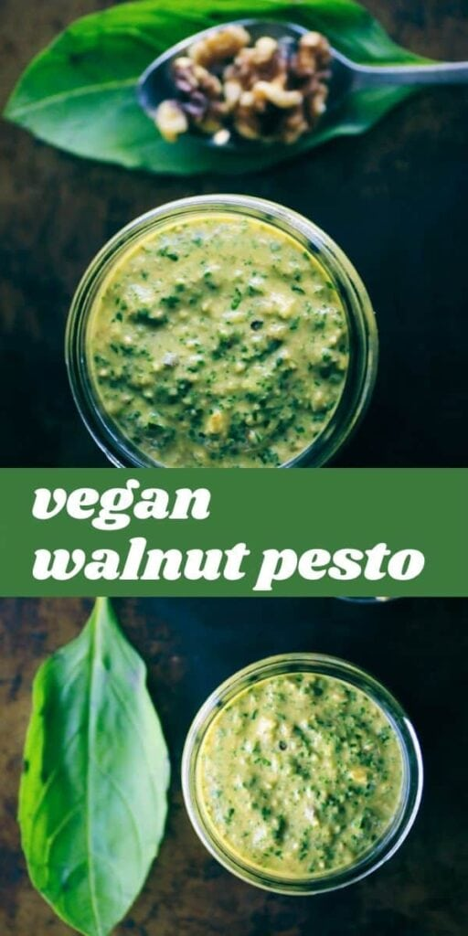 a pinterest pin for vegan pesto recipe