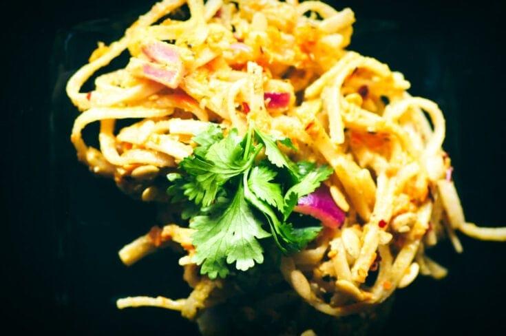 Spicy Pumpkin Seed Butter Pad Thai (Vegan, Gluten-Free, Soy-Free, Nut-Free)