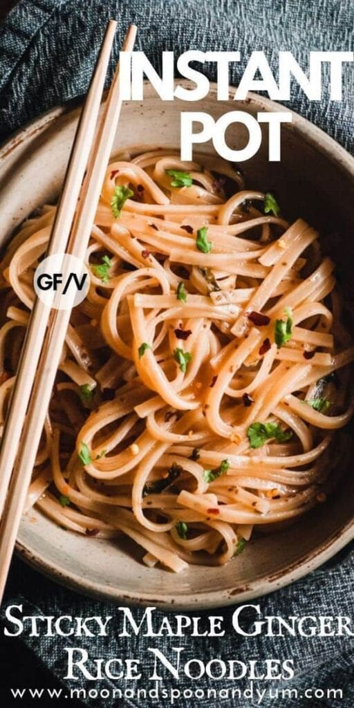 a pinterest pin image for instant pot rice noodles