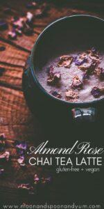 a pinterest pin image for almond rose chai tea latte
