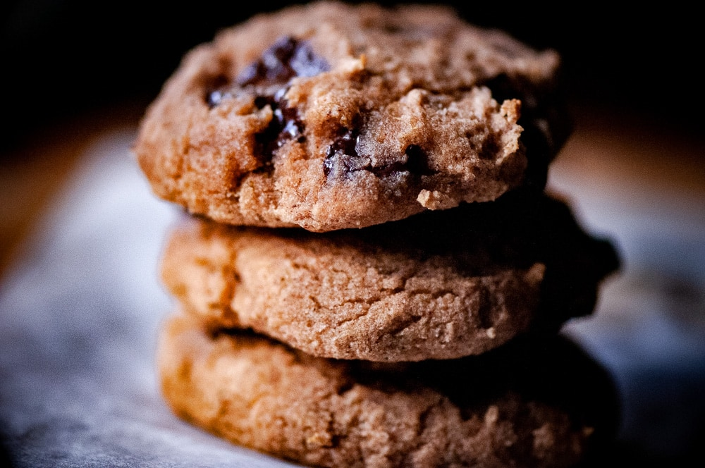 These banana sweetened coconut flour cookies with 100% chocolate chips, make for one healthy no sugar added baked treat without any of the guilt! Gluten-free, dairy-free, refined sugar-free, low-carb friendly. #coconutflourcookies #bananacookies #ketocookies #chocolatechipcoconutflourcookies #healthycookies #glutenfreecookies