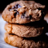 a stack of banana coconut flour chocolate chip cookies