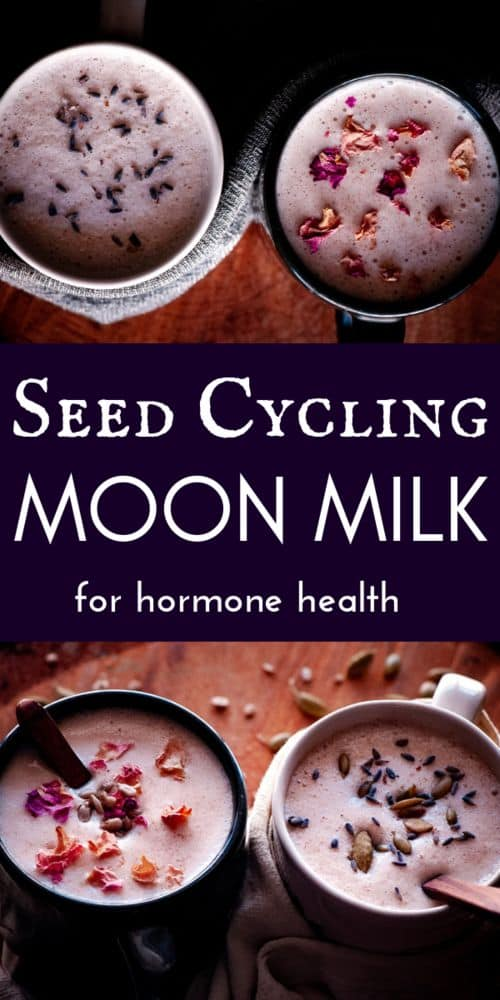 a pinterest pin image for seed cycling moon milk recipe
