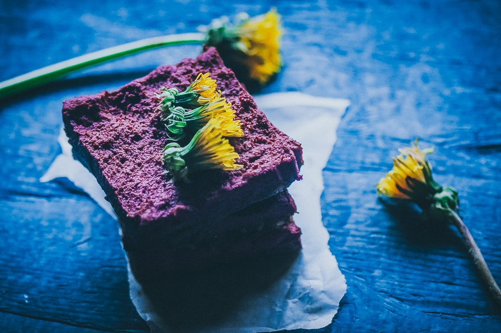Delightfully EASY, healthy and tasty No Bake Dandelion Beet Chocolate Bars made with cacao powder, coconut flour, beet powder and fresh dandelions, makes a great first foraging project or fun nutritious treat for spring! Gluten-free, vegan, raw, refined sugar-free. #beetbars #dandelionbars #dandelions #beetpowder #rawbars #veganbars #nobakebars #glutenfreebars #foragingrecipes