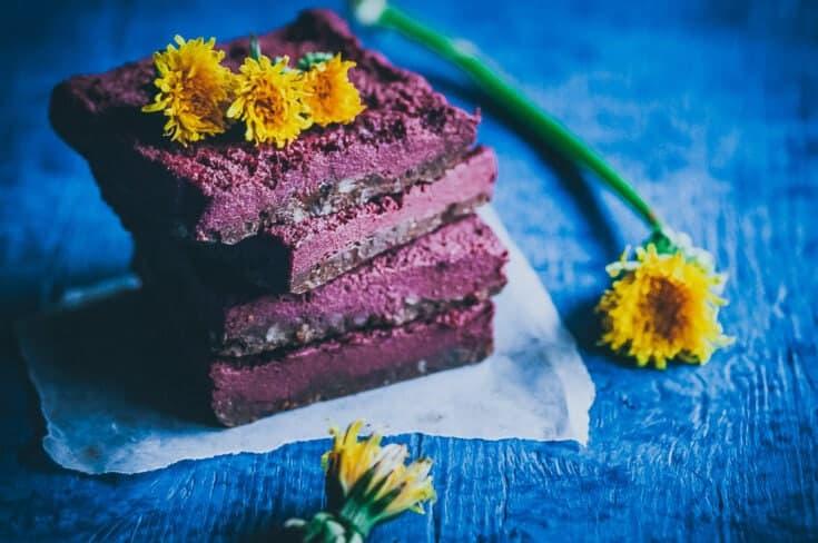 No Bake Dandelion Beet Chocolate Bars (Vegan, Gluten-Free)