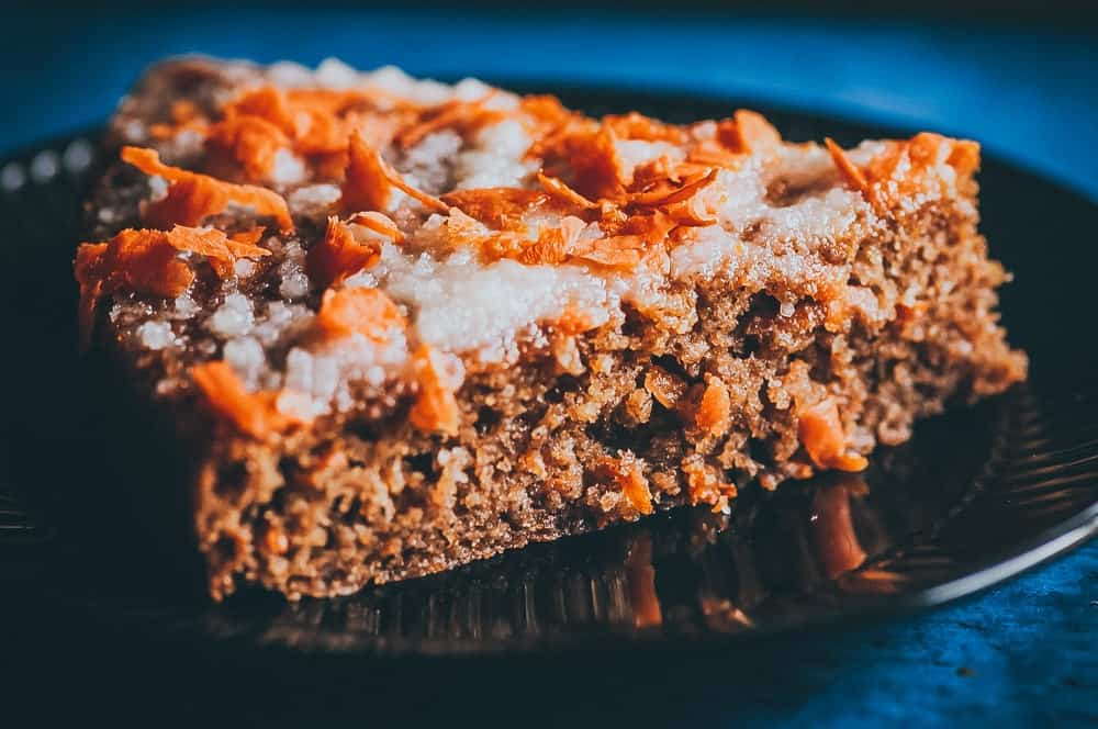 a slice of gluten free carrot cake