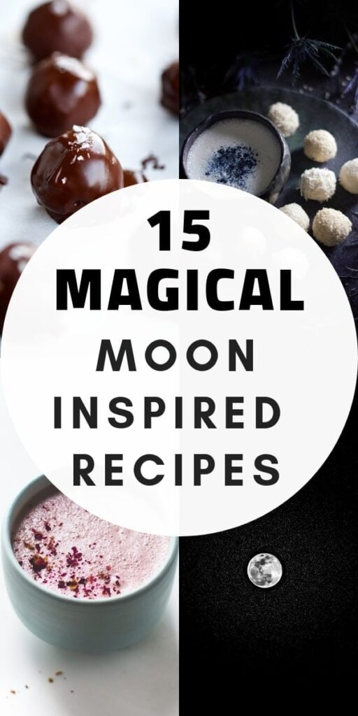 a pinterest pin with a grid of 4 images of moon inspired food recipes