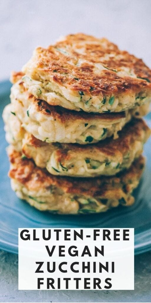 pinterest pin for vegan gluten free zucchini fritters