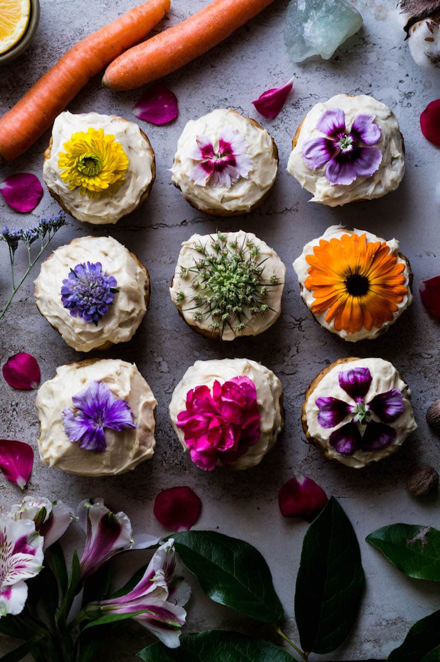 Carrot Cake Muffins with Floral Lemon Frosting