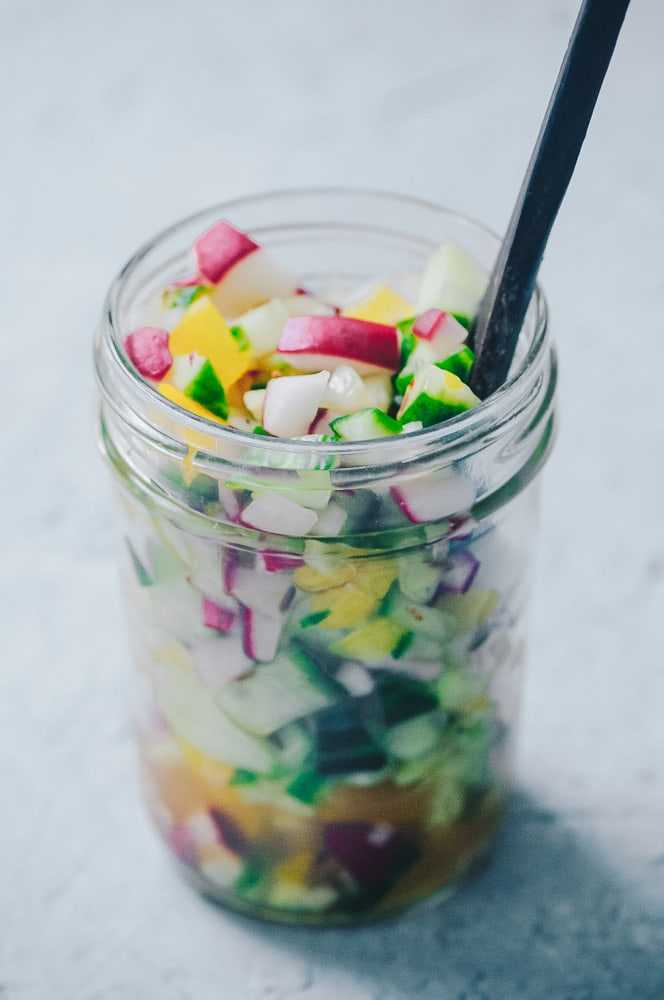 A SUPER fresh, crisp and refreshing Radish Cucumber Salsa. This easy salsa recipe makes for one healthy and delicious summer garden salsa ready to suit a variety of savory dishes! Low-carb and keto diet friendly! #radishsalsa #freshsalsarecipe #cucumbersalsa #summersalsa #ketosalsa
