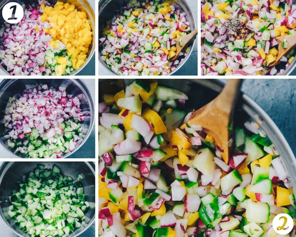 How-to Make Keto Cucumber Salsa step by step process photos - A SUPER fresh, crisp and refreshing Radish Cucumber Salsa. This easy salsa recipe makes for one healthy and delicious summer garden salsa ready to suit a variety of savory dishes! Low-carb and keto diet friendly! #radishsalsa #freshsalsarecipe #cucumbersalsa #summersalsa #ketosalsa