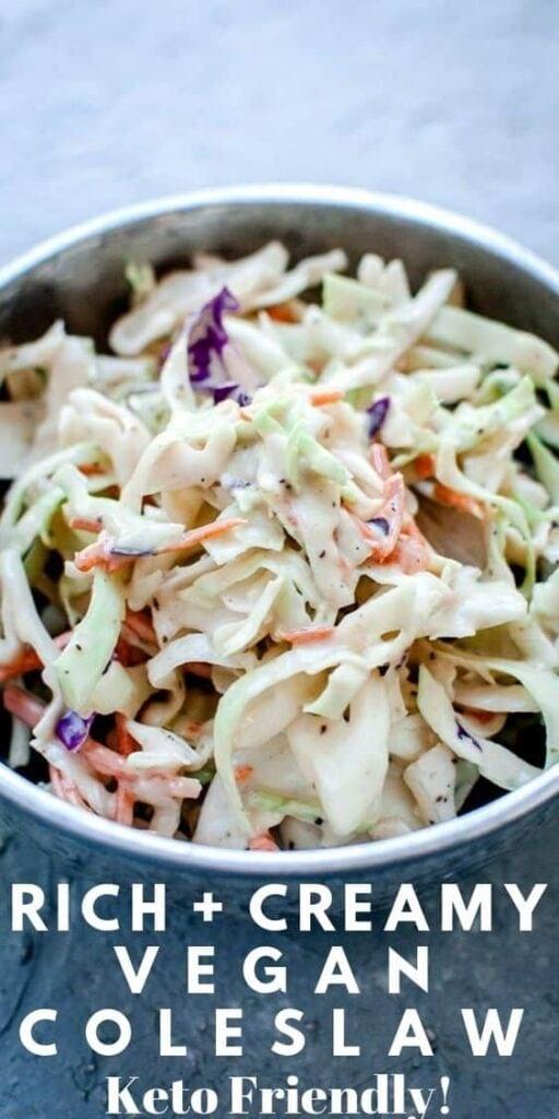 a pinterest pin for keto vegan coleslaw