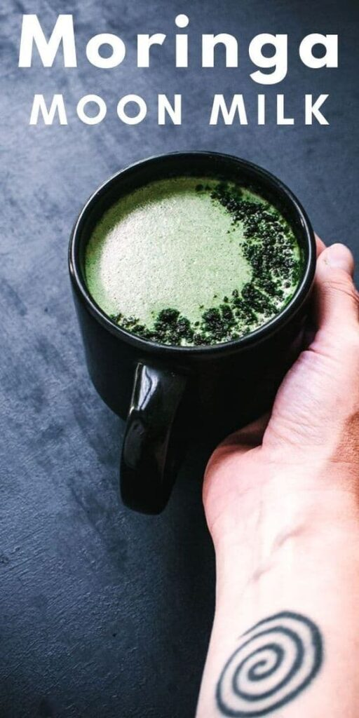 a pinterest pin image for moringa moon milk
