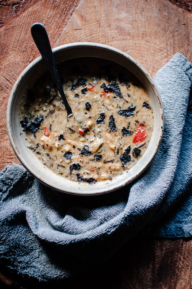 Vegan Instant Pot Wild Rice Soup (Gluten-Free) - An easy and healthy vegetarian wild rice soup with a creamy cashew base, perfect for a bowl of autumn comfort! This pressure cooker wild rice soup is bursting with beautiful flavors and textures! Made with lovely ingredients from iHerb + a discount! #sponsored #iherb #wildrice #wildricesoup #veganwildricesoup #vegetarianwildrice soup #instantpotwildrice