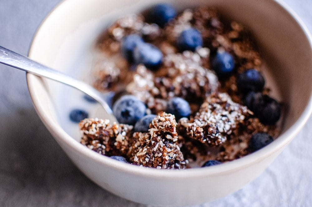 a white bowl with blueberries and rawnola
