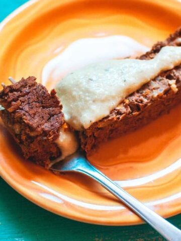 a slice of vegan meatloaf with cashew gravy