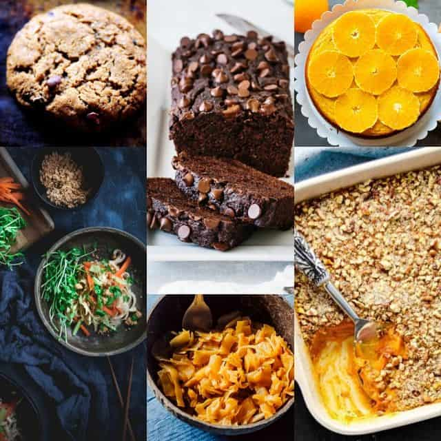 a grid of six paleo vegetarian recipe images