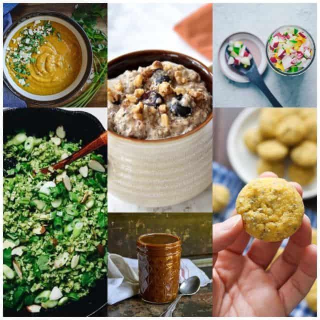six image grid of vegetarian paleo recipes