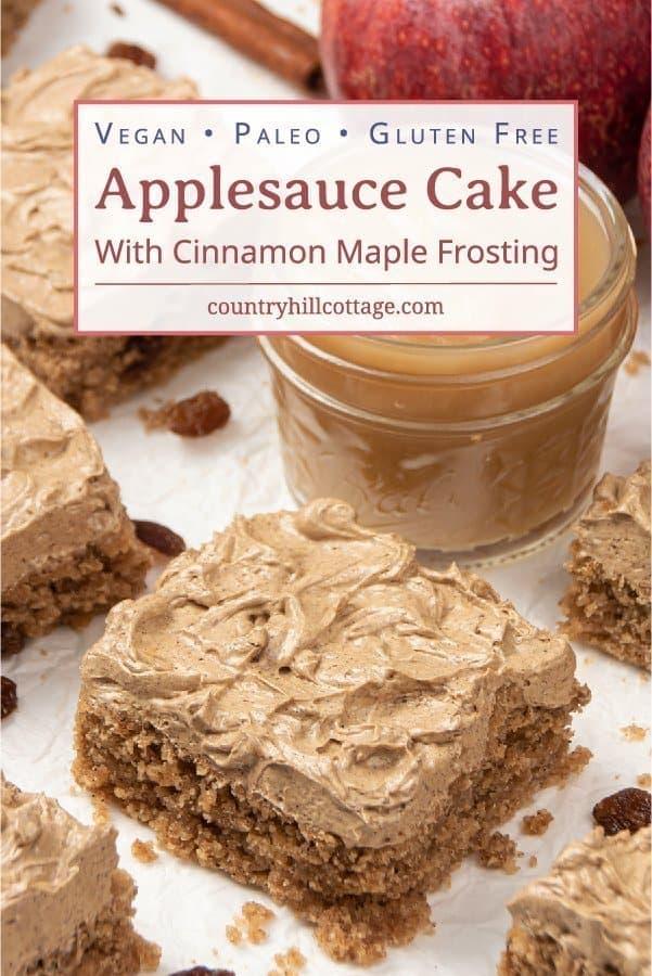 Vegan Applesauce Cake with Cinnamon Maple Frosting Gluten-Free Paleo