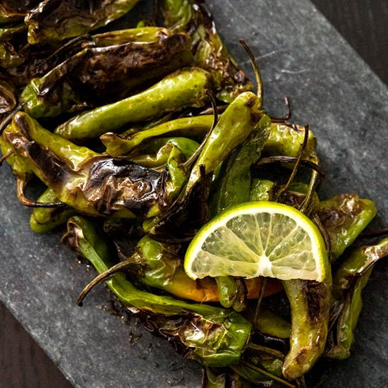 Blistered Shishito Peppers with Soy Sauce, Sesame & Lime