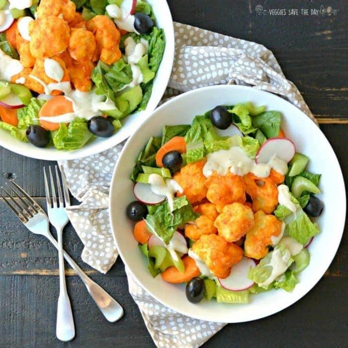 Buffalo Cauliflower Bites Salad