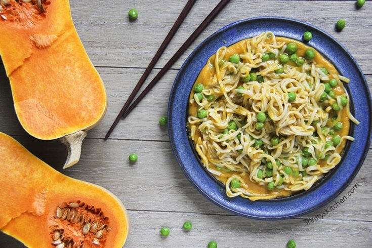 Butternut Squash & Ginger Sauce (with rice noodles) 15 minute GF Vegan Dinner