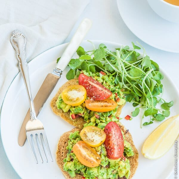 Chickpea Pancakes with Avocado, Tomato, and Watercress