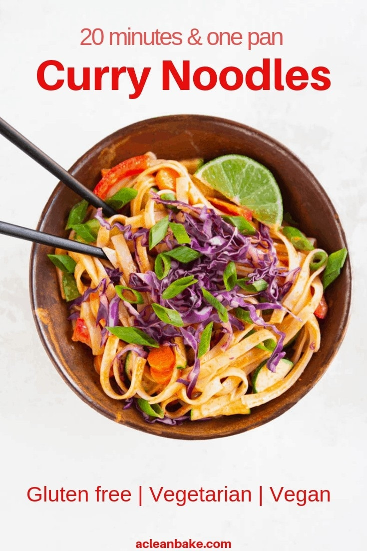 One pan gluten free and vegan curry noodles.