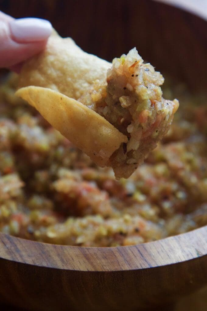 Fire Grilled Hatch Chile Tomatillo Homemade Salsa