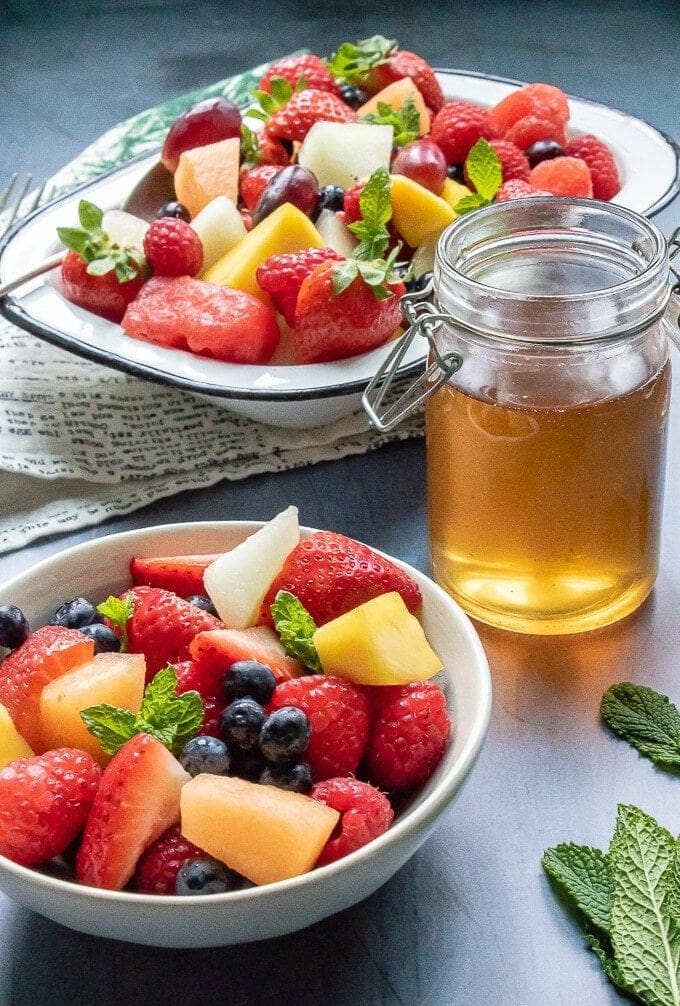 Fruit Salad with Tea Simple Syrup
