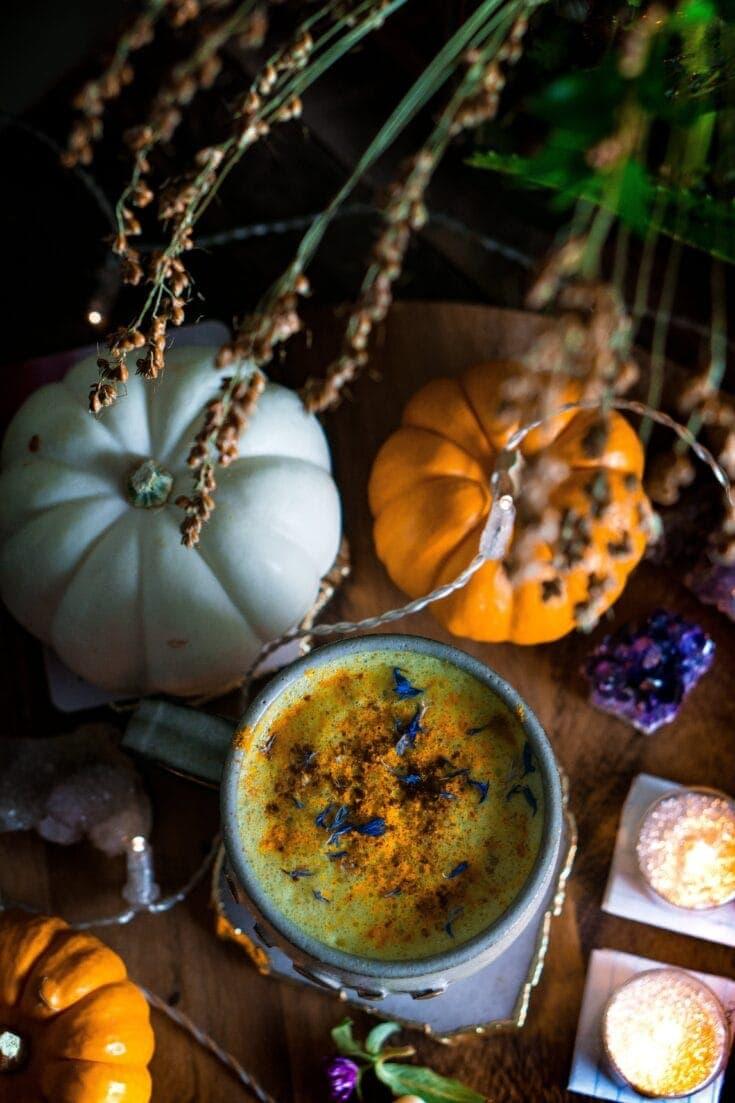Golden Pumpkin Spiced Moon Milk (vegan, keto, paleo, & body ecology)