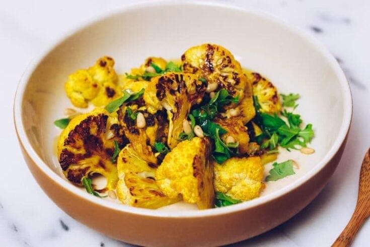 Paleo Roasted Cauliflower Recipe with Lemon-Tahini Sauce