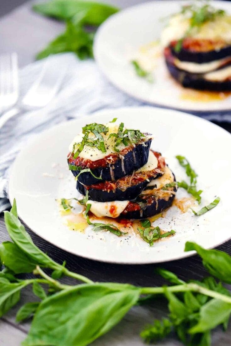Roasted Eggplant Parmesan Stacks