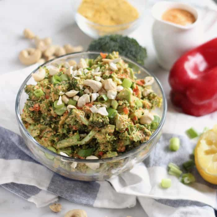 Vegan Cheezy Broccoli Salad