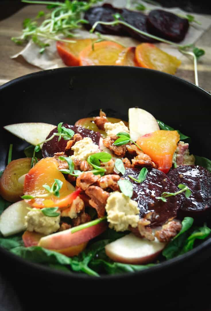 Apple and Beet Salad with Candied Walnuts and Cashew Cheese