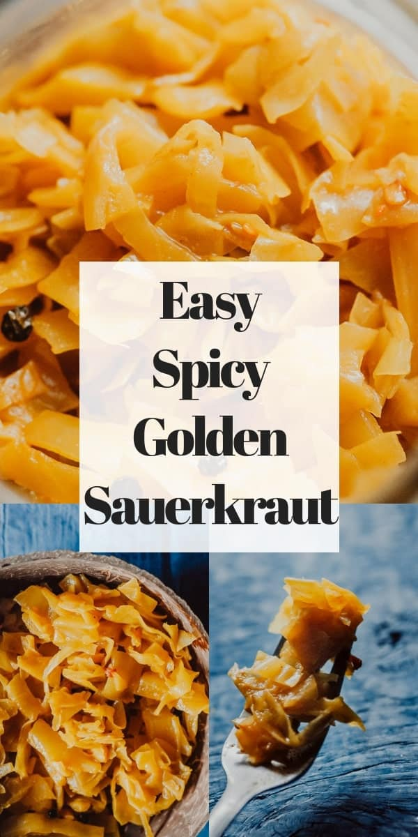 This probiotic rich Spicy Sauerkraut recipe with turmeric, red chili flakes, and black peppercorns is bursting with flavor and anti-inflammatory + gut health benefits! Easy, healthy, vegan, gluten-free and DELICIOUS! Learn all about how to make sauerkraut, health benefits, and more in this informative recipe post!