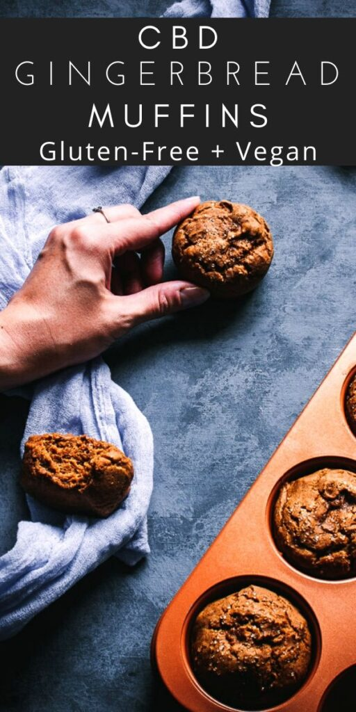 a pinterest pin image for cbd gingerbread muffins